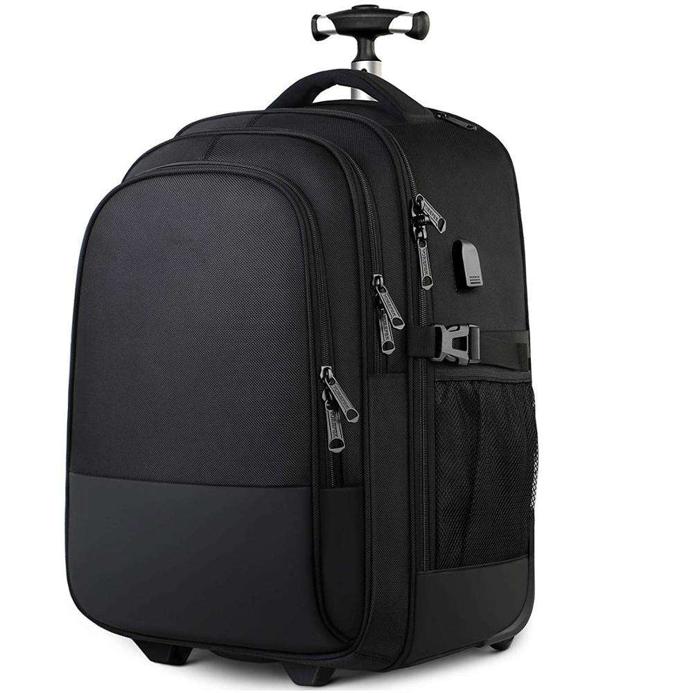 Large Rolling Wheeled Backpack Business Travel Carry on Luggage Suitcase Bag Durable Roller College School Computer Book bag