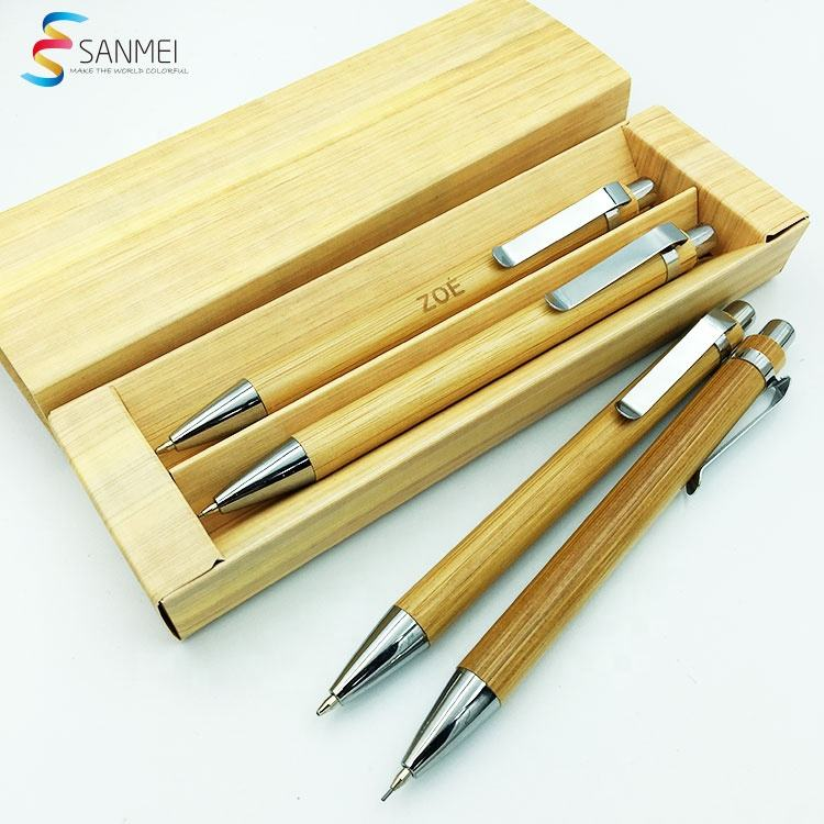 Professionele Papier Corporate Gift Case Branded Logo Box Relatiegeschenk Bamboe Set Potlood Pen