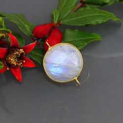 Moonstone Gemstone Round Shape Bezel 18 MM Size Stone Connector Jewelry