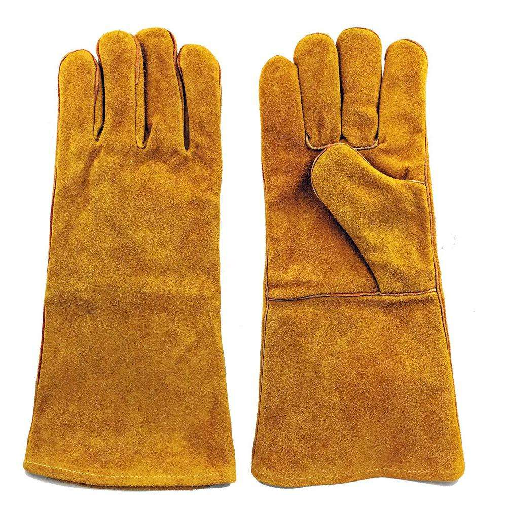 Full Finger Construction Split Cowhide Leather Double Palm Gloves for man