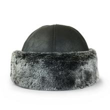 Traditional Top Quality Faux Leather  Ottoman Cylinder Mealy Black Hat / Bork