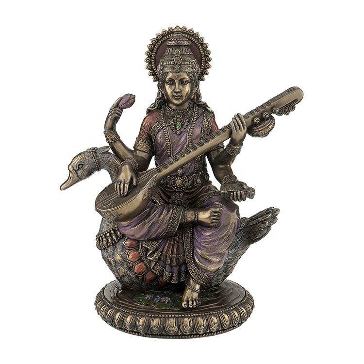 VERONESE DESIGN - SARASWATI ON SWAN - HINDU GODDESS OF KNOWLEDGE - COLD CAST BRONZE -OEM AVAILABLE