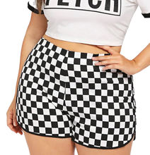 Spandex / Polyester Checker Print Dolphin Hem Shorts Women Sporty Casual Elastic Waist Plaid Shorts
