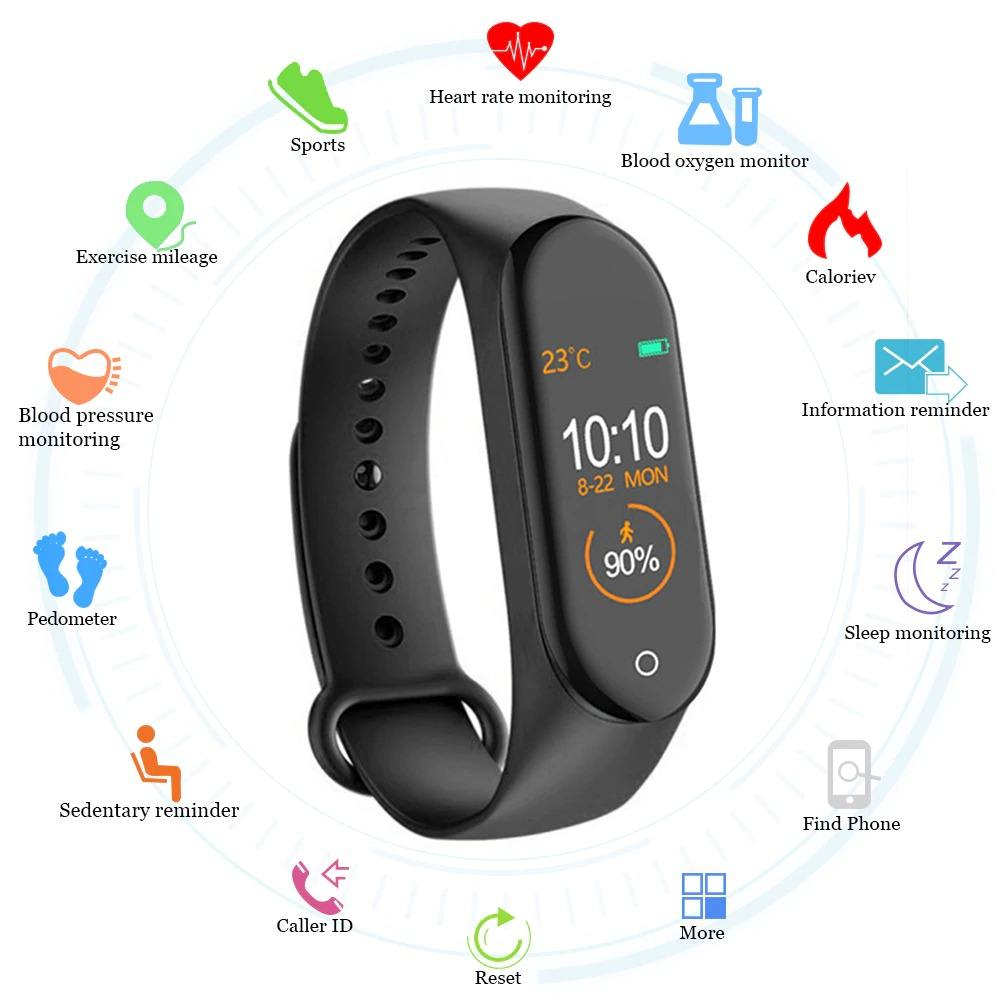 M4 Smart bracelet fitness tracker watch sport bracelet heart rate blood pressure tracker health wristband smart watch m4 android
