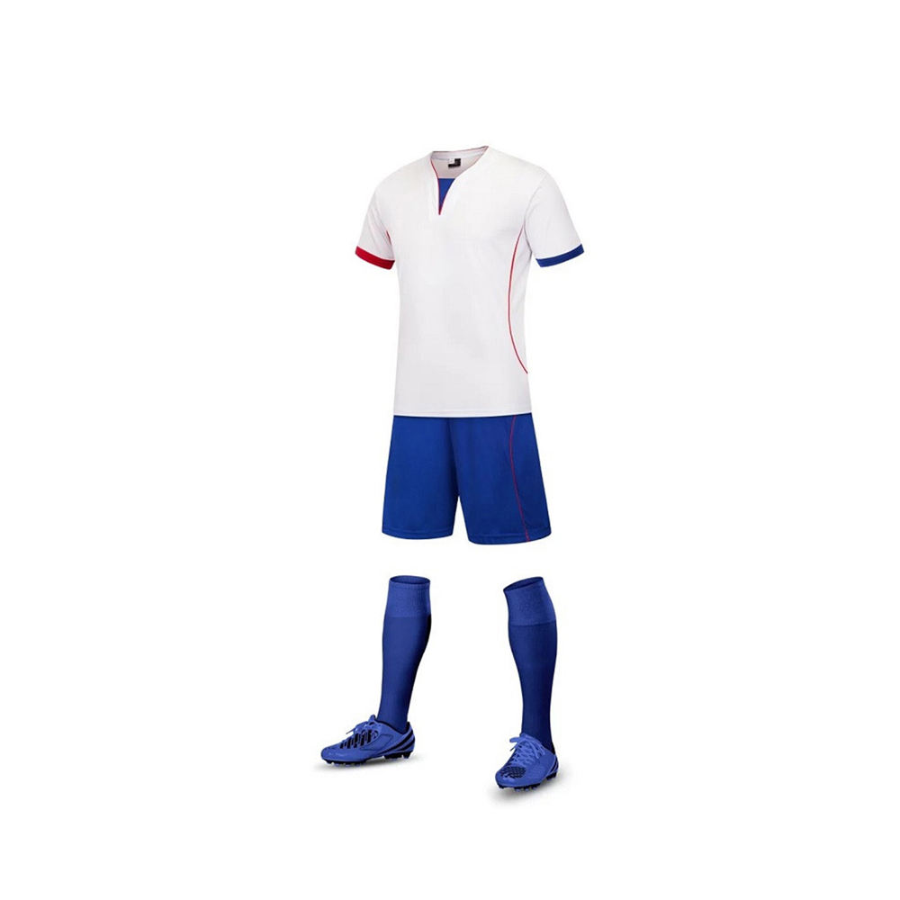 Customized Soccer Uniform Sets White And Blue Short Tanning Sets