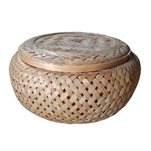 Round bamboo box with circular lid, 100% natural bamboo fiber items from Vietnam now on sale