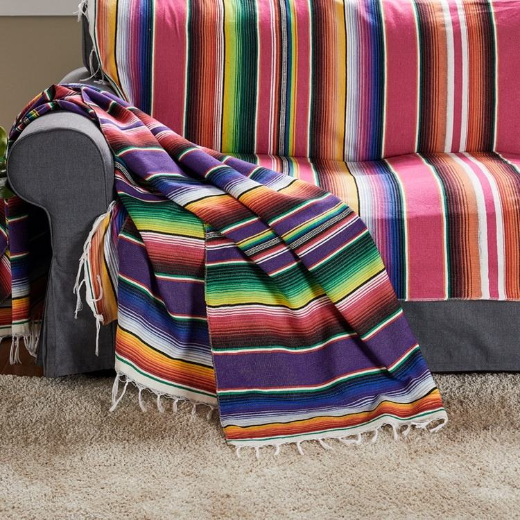 Shinnwa cheap custom sofa throw colorful mexican blanket
