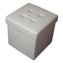 Waterproof square Faux Leather Folding Seat Foot Stool Storage Box for sitting room