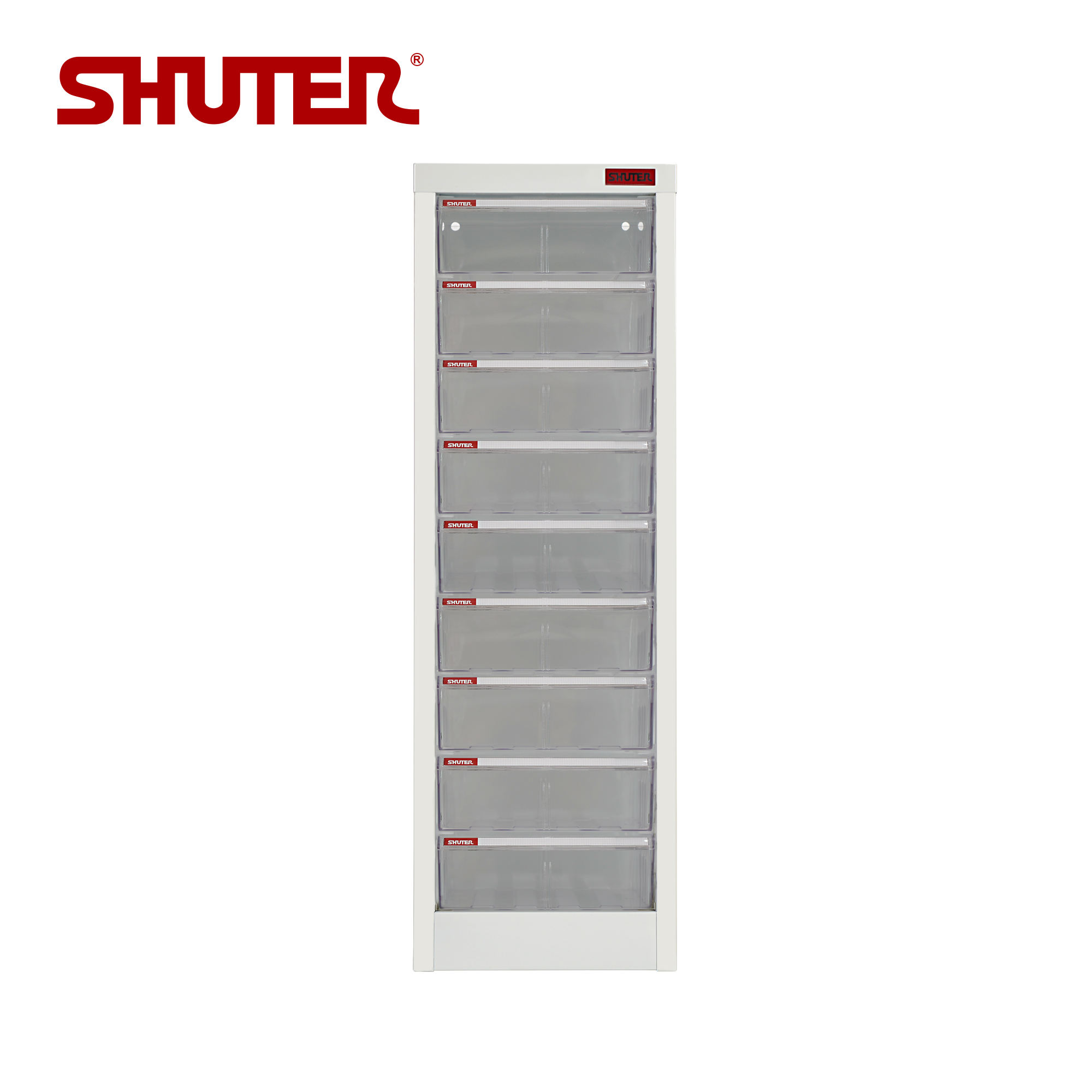 A4 Paper filing Cabinet 9 drawer desktop Storage with clear Drawer | SHUTER A4-109H