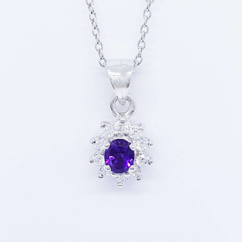 Wholesale 925 Sterling Silver Jewelry Set Oval 5X4mm Amethyst Gemstone & Cubic Zirconia Halo Style from Thailand
