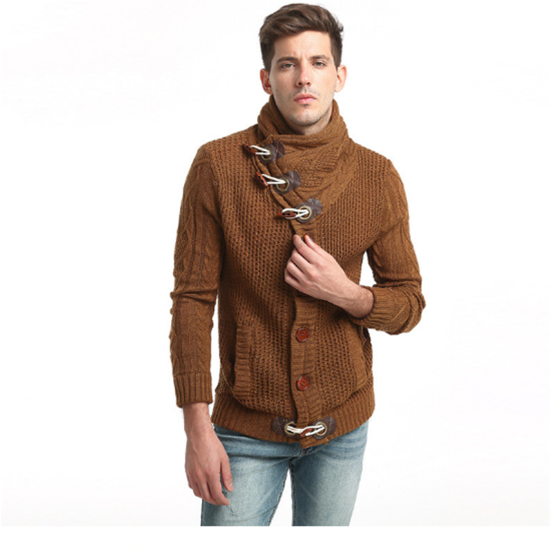 Shawl collar cardigan latest design sweater with Button decoration knitted cozy sweater men