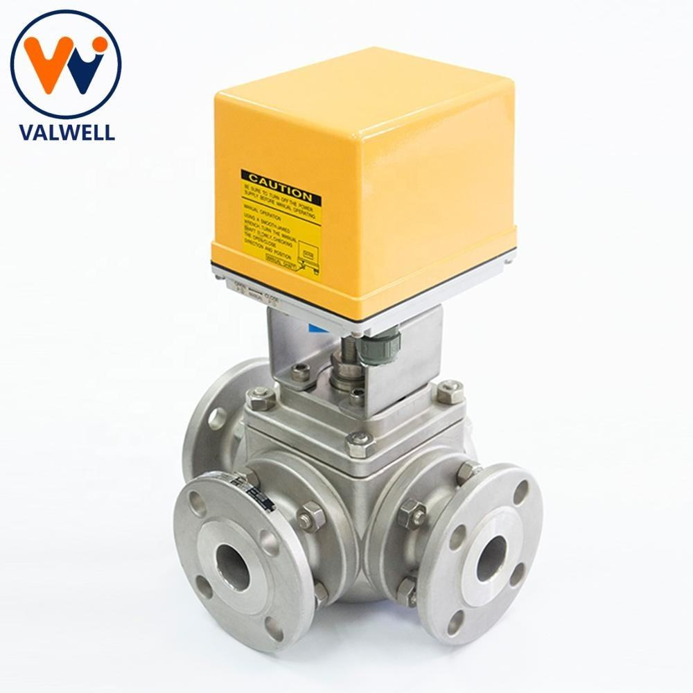 SS 3way 3-Way 3 WAY Electric Motorized Ball Valve