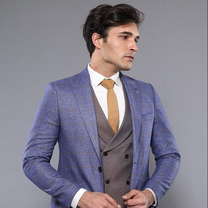 Blue Check Blazer Double Breasted Waistcoat Plain Trousers 3 Piece Men Suit