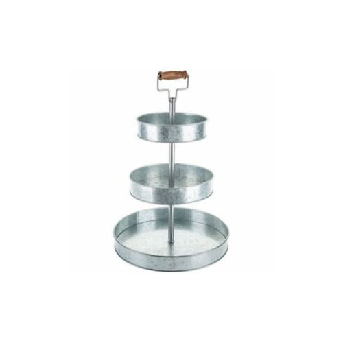 Metal 3 Tier Cake Stand with Wooden Roller Handle hot selling product