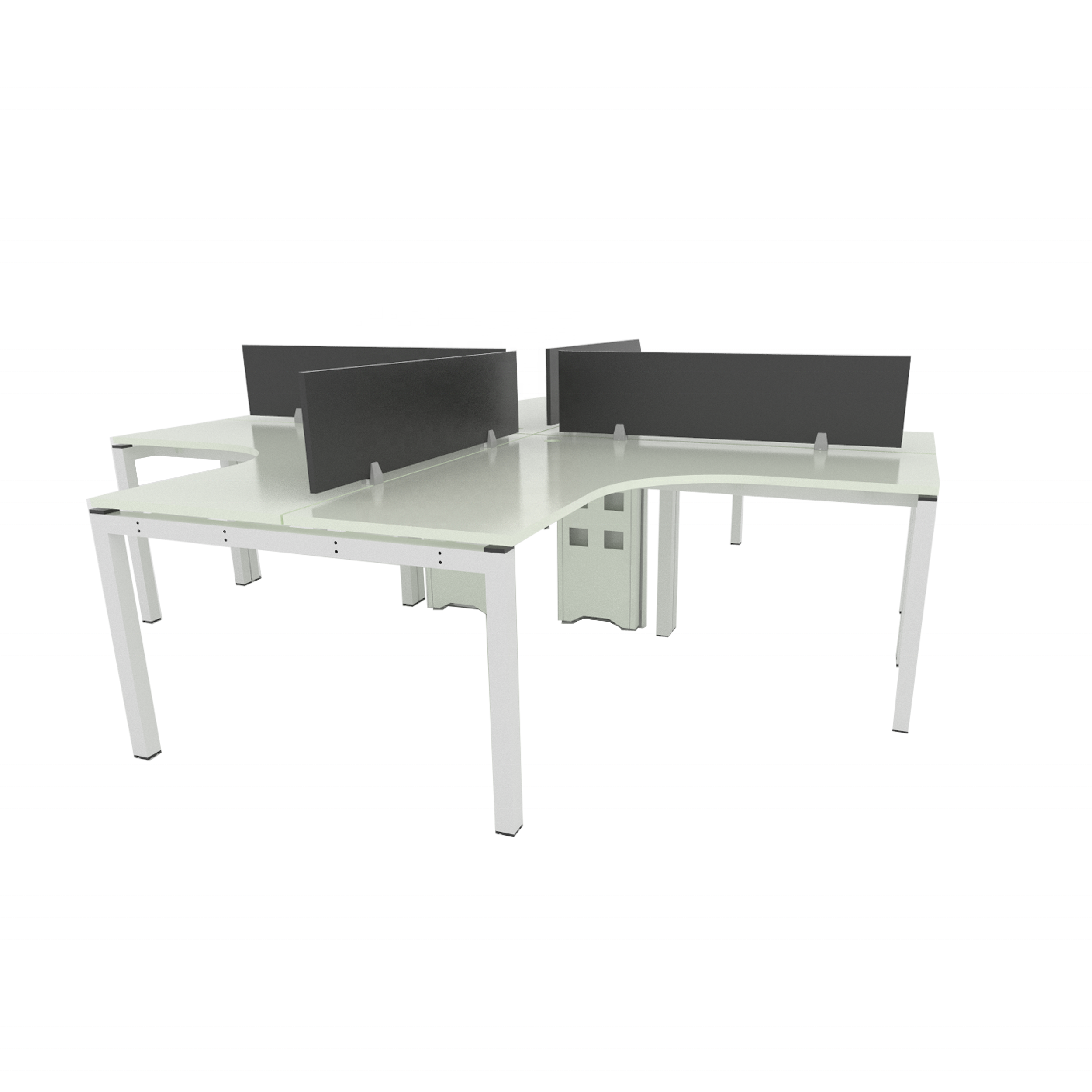 Multi-seater Four Seater Build In Wire Terminal Office Partition Table Desk Workstation