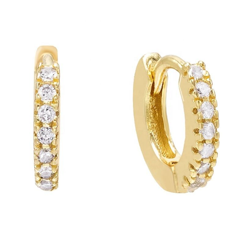 Online fashion jewellery 14kt gold vermeil cubic zirconia huggie hoop earrings