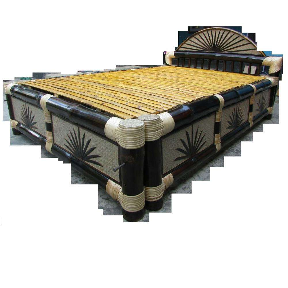 Elegant King Size Natural Bamboo Folding Bed for Bedroom with Headboard Hotel Spa Home Lightweight Twin Double Pest Resistant