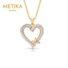 High Quality 925 Sterling Silver Jewelry Cubic Zirconia CZ  Heart and Butterfly Pendant for Woman Girl Gift