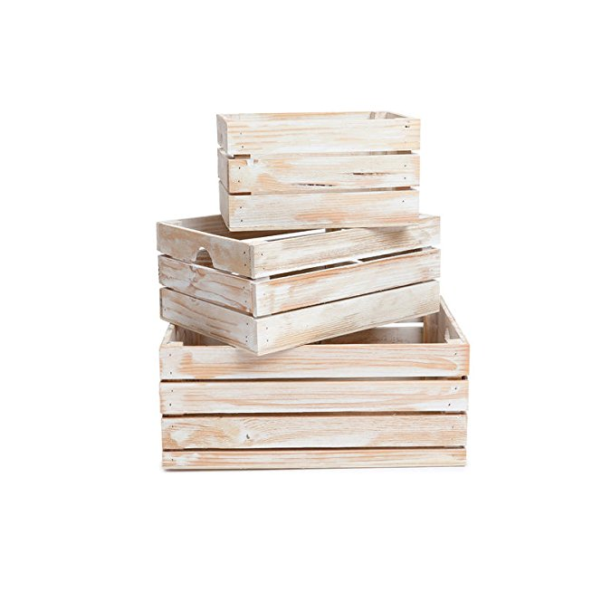 Grey Distressed Rustic Decorative Wood Crates