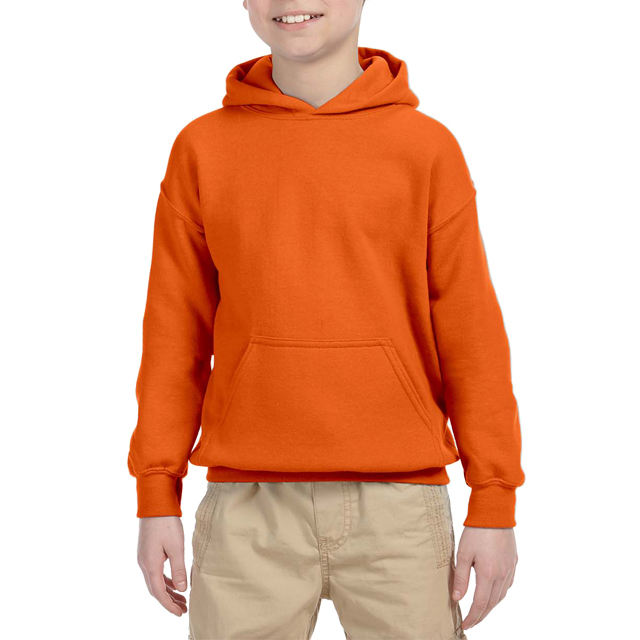 Wholesale popular plain design heavy weight hoodie custom boys orange hoody with embroidery logo