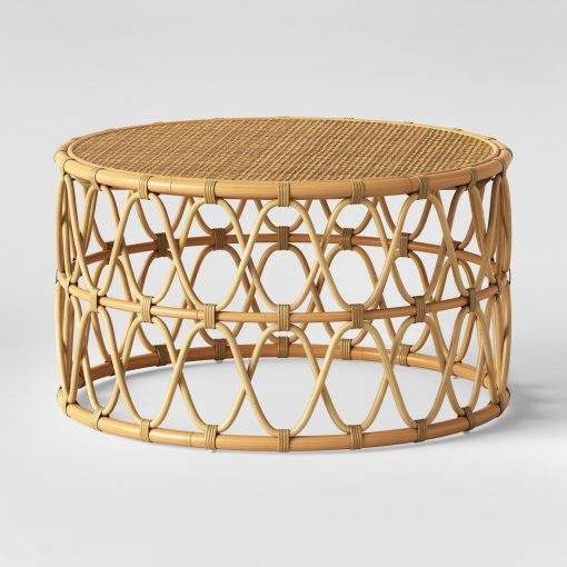 Simple round rattan coffee table from Vietnam
