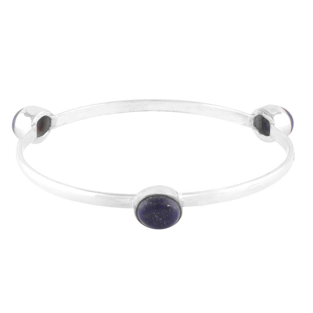 Natural Lapis Bangle Bracelet Sterling Silver Women Jewelry