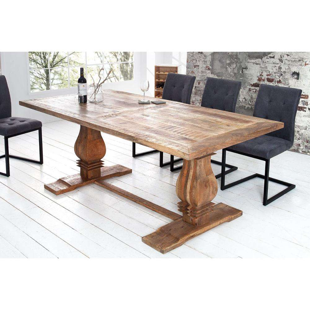 Contemporary Rustic Solid Mango Wood Dining Table
