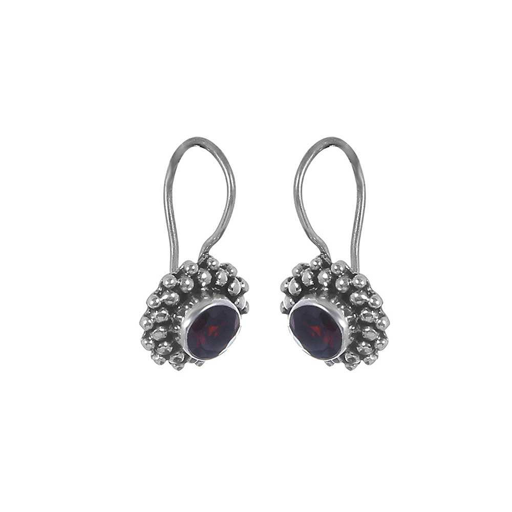 Natural Faceted Garnet Gemstone Jewellery 925 Sterling Silver Earrings For Women