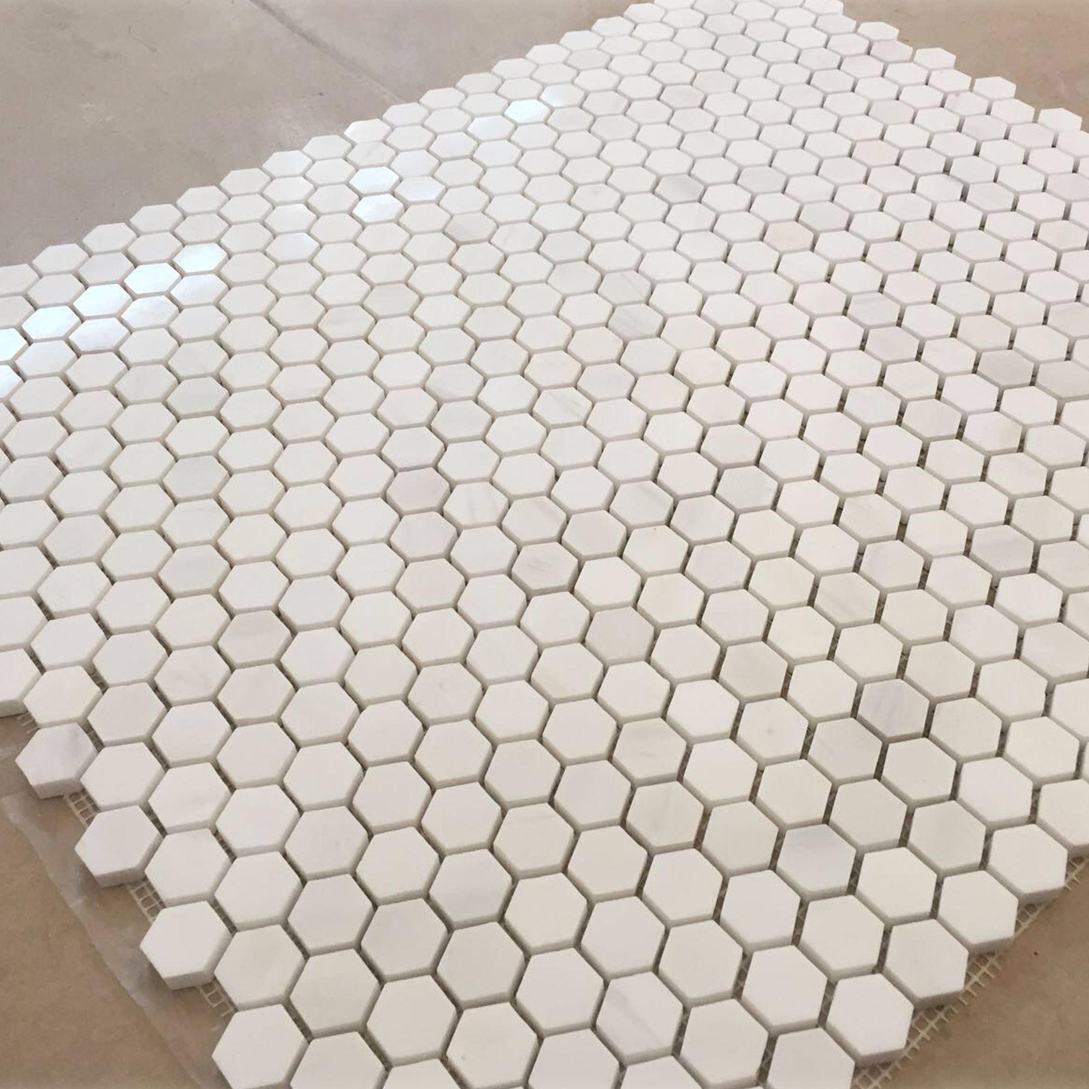 - Turkish Marble Hexagon Mosaic Tile Mesh On Mounted - Buy Hexagon