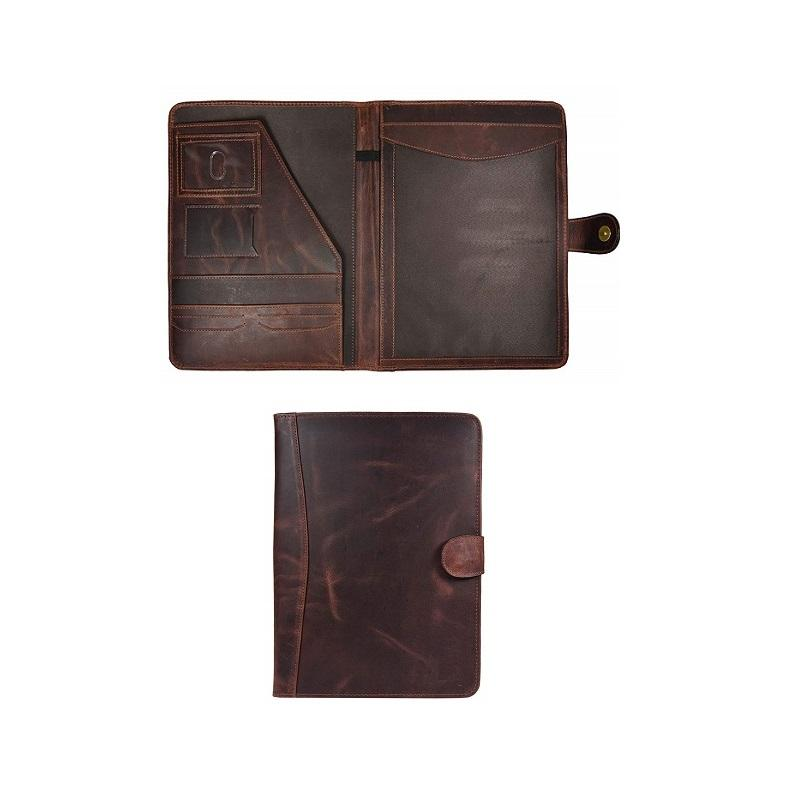 Genuine leather writing pad portfolio business folder with personalization