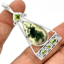 925 Sterling Silver Jewelry With Natural Gemstone Pendant