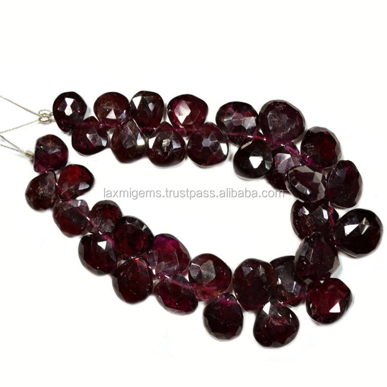 Indian natural garnet hand polish faceted pear gemstone beads wholesale exporter