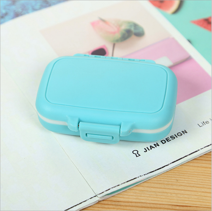 2019 Plastic Mini Pill Box Supplement Case for Pocket Organizer or Purse - 3 Removable Compartments Travel Medication Carry Case