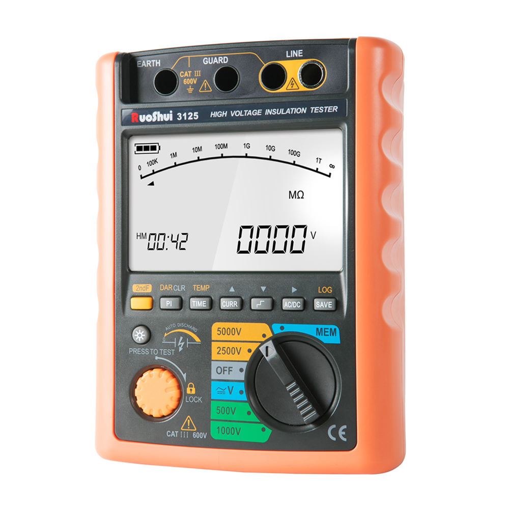 3125 RuoShui 5000V Megger Insulation Tester with range up to 100G ohm with USB interface