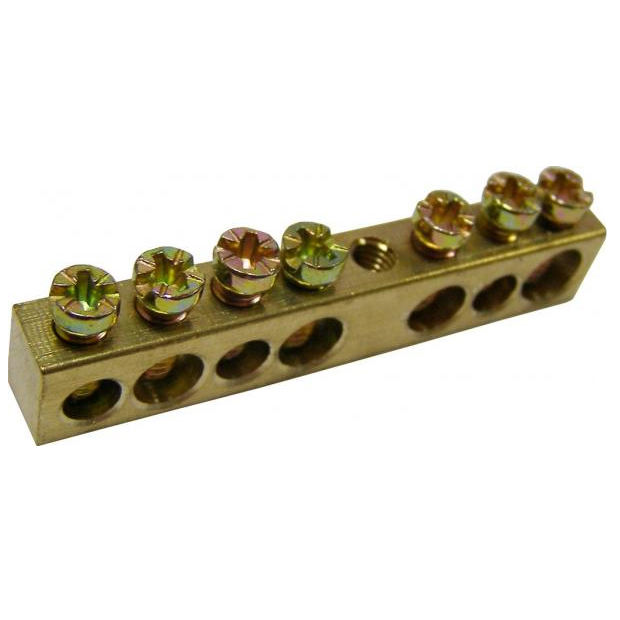 High Quality Brass Ground Neutral Bar 6*9 7 cable leads for 1 hole electrical terminal block brass terminal with screw assembly