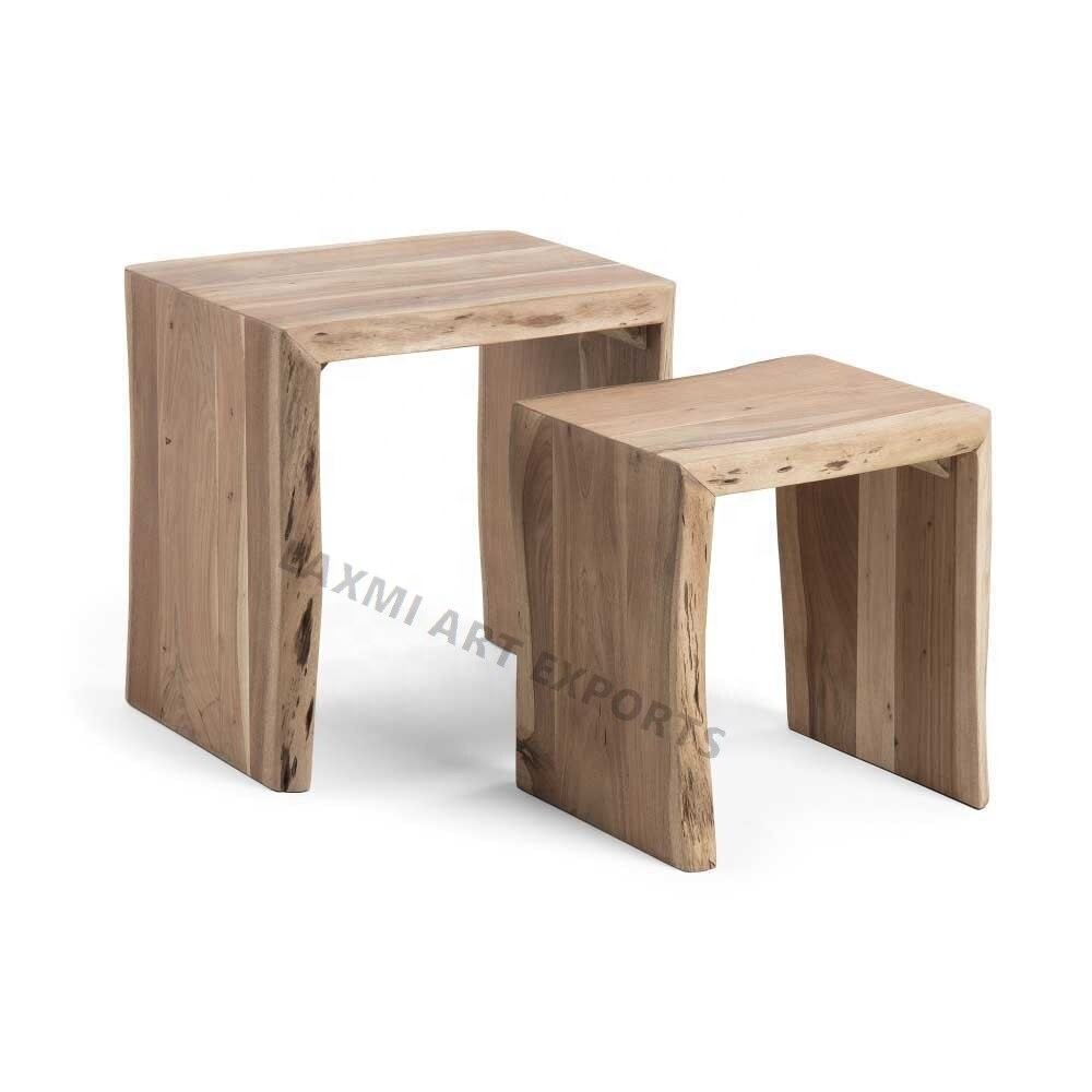 Stylish 2 Stage Rectangular Coffee Table with Tree Edge Nesting Table Wooden Set of 2 Coffee Tables