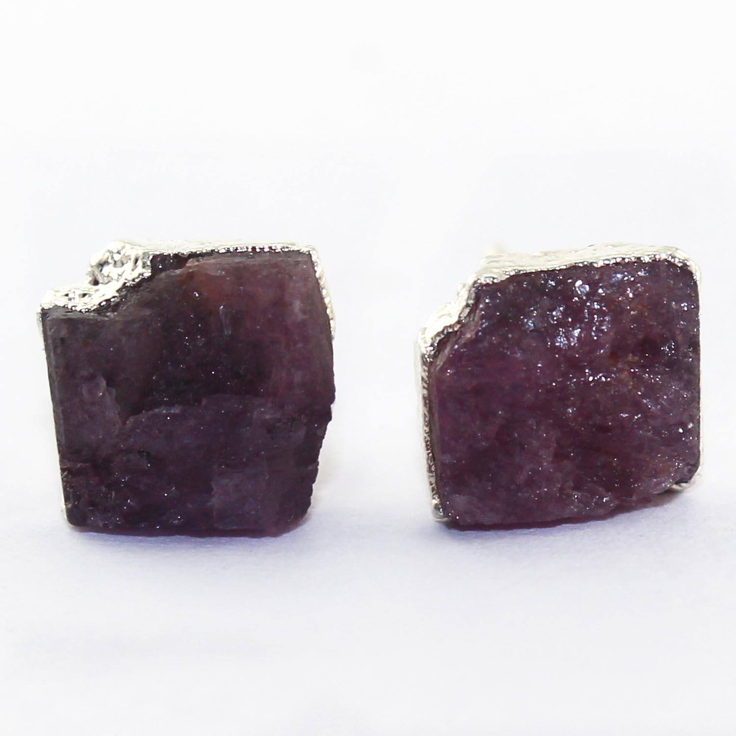 Ravishing collection natural rough ruby gemstone stud earring silver electroplating handmade stud july birthstone stud earring