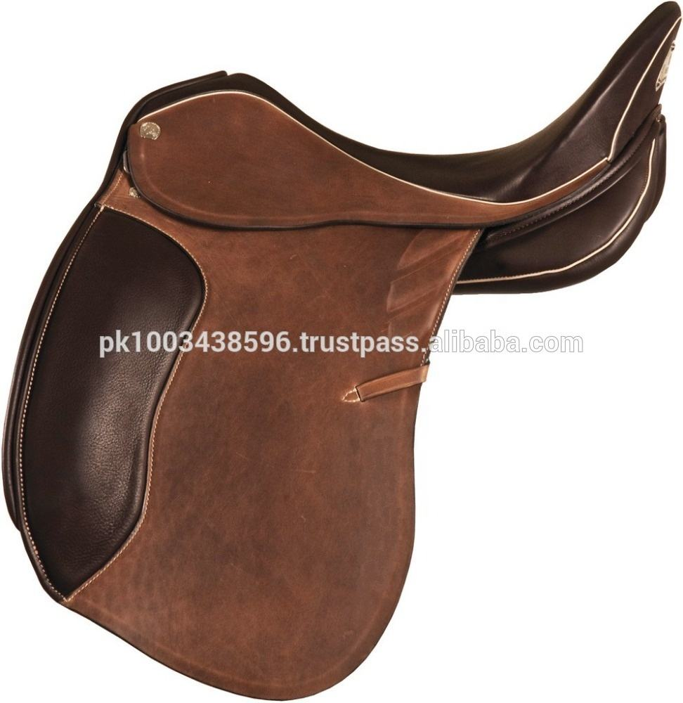 Black / Brown English Dressage Treeless Endurance GP all purpose leather saddle for horse