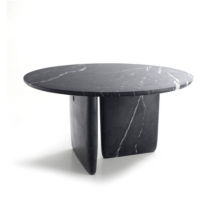 Hanssz unique style round kitchen round marble top modern furniture dining table with stone base for dining room