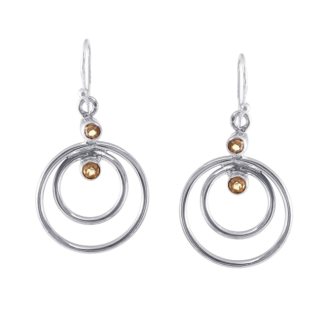 925 solid sterling silver plain plaster earring with real high quality citrine earring silver round drop and dangle earring