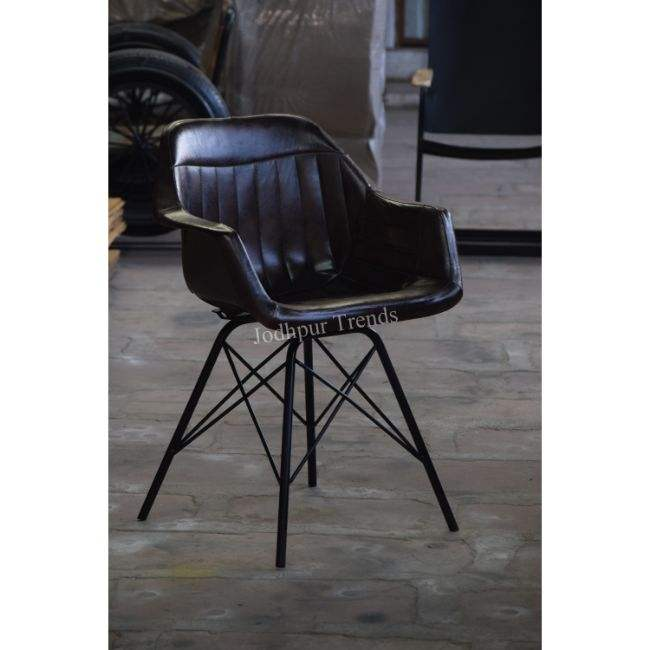 Modern Restaurant Coffee Shop Iron Black Leather Dining Chair / Cafe Chair