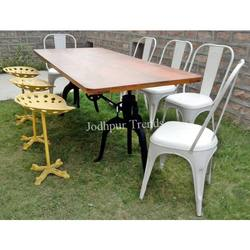 Vintage Hotel Garden Furniture Industrial height adjustable crank table With Iron Chairs & Stools Dining