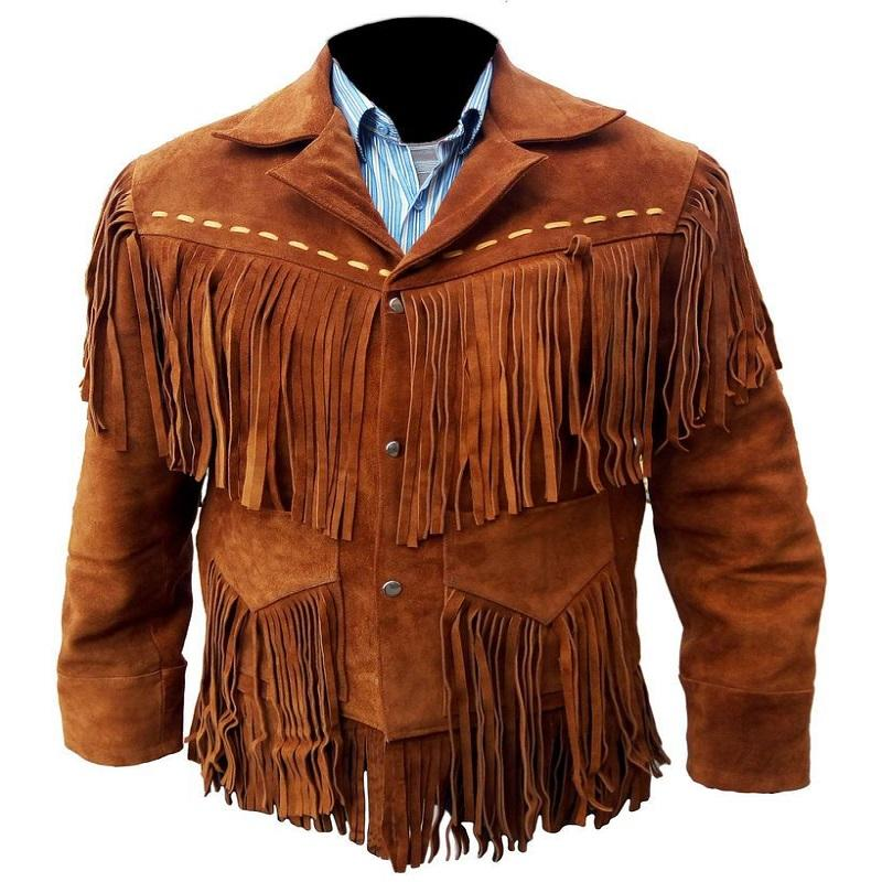 New Men Brown Suede Western Cowboy Style Leather Jacket With Bones and Breads Custom Logo