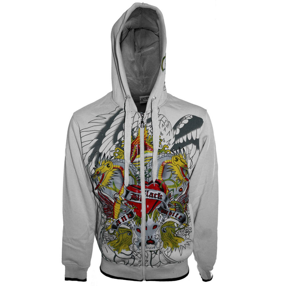 zipper hoodie in cotton fleece printing