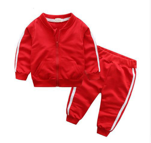 Autumn fashion baby girl clothes cotton long sleeve solid zipper jacket+pants PCs babes tracksuit baby boy clothing set