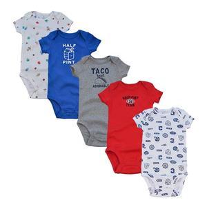 Wholesale 5 pcs Newborn Infant Short Sleeves Set Cotton baby romper set