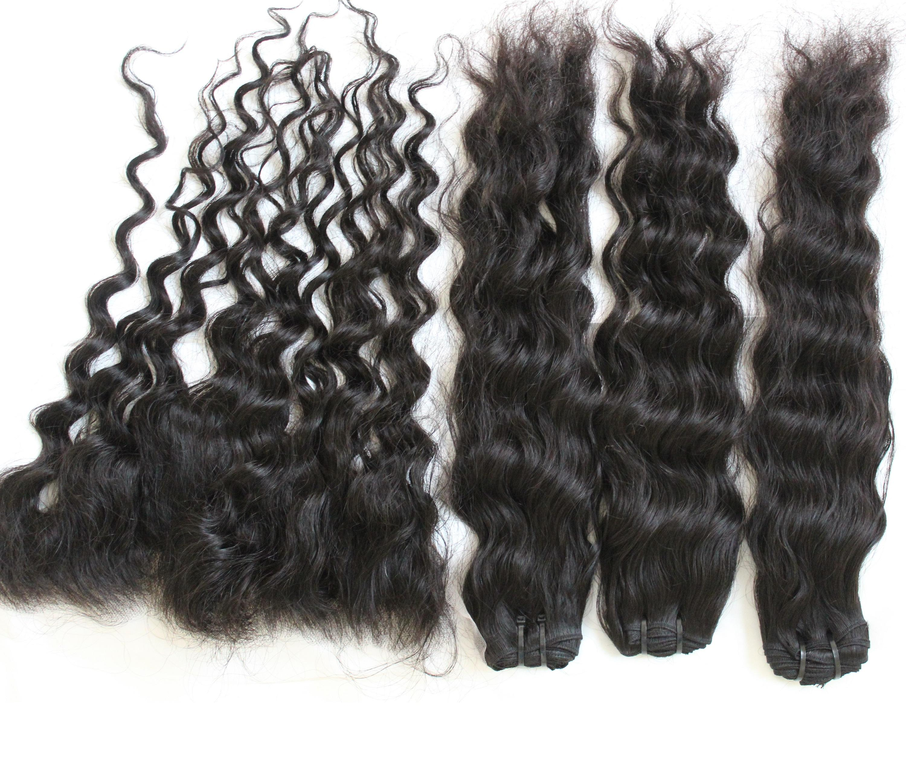 Beautiful Combo Deep Wave Bundles With Lace Frontal For Making a Wig
