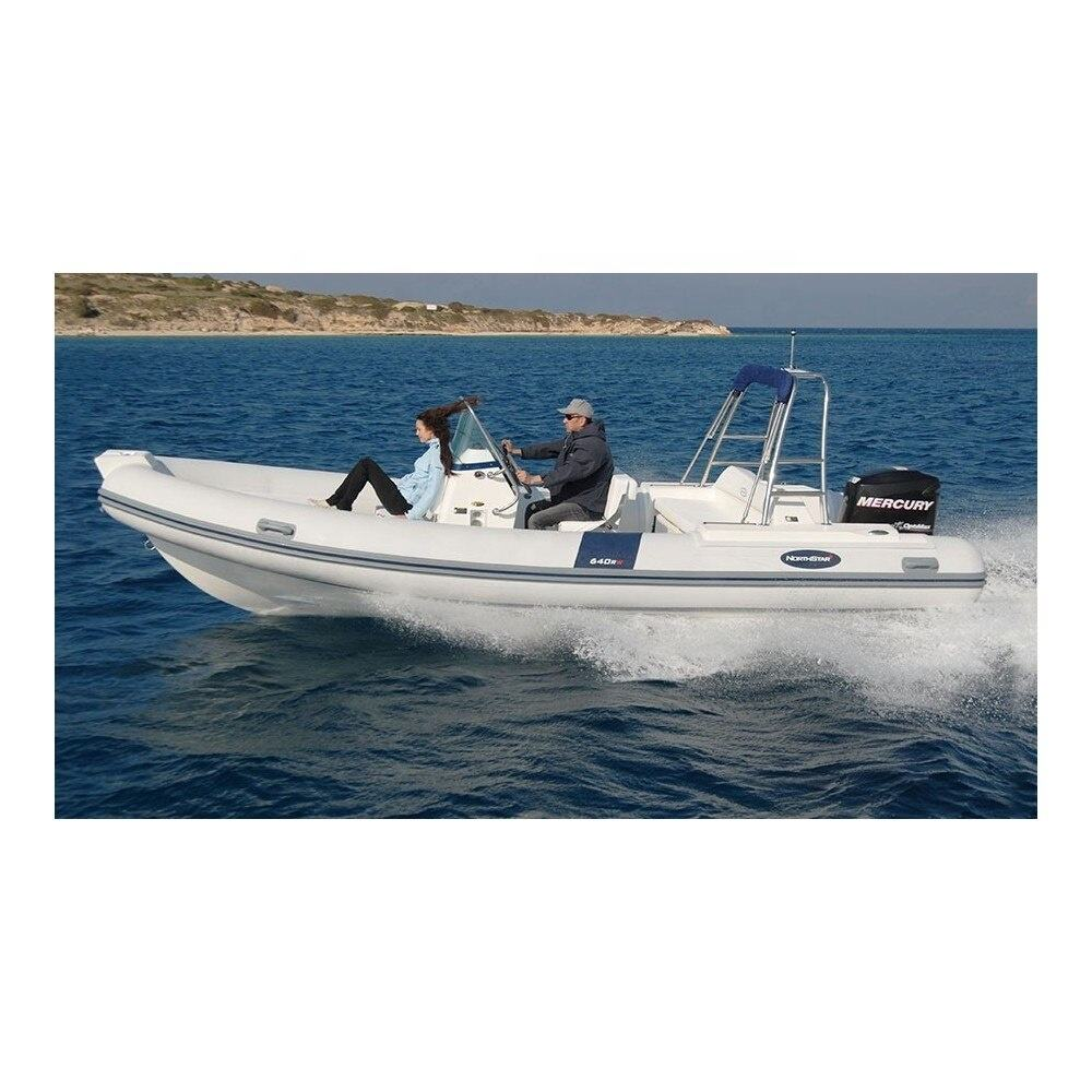 High Comfort 640 RW Fiber Fishing Boat CE Inflatable Boat Hull RIB with 2 Outboards