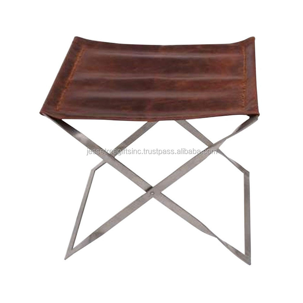 Stainless Steel & Leather Stool For Sitting Outdoor Indoor Use