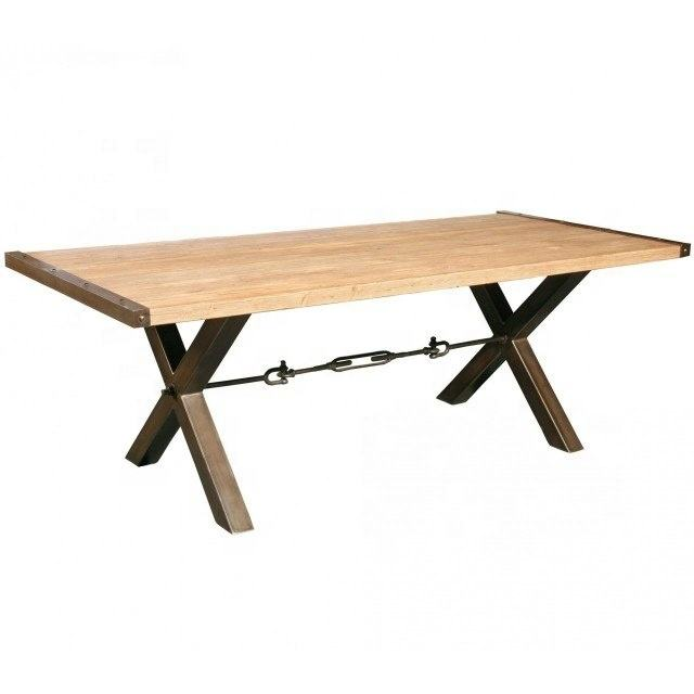 New Industrial & Vintage Cross Iron Legs Mango Wood Top Handmade Dining Table